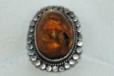 Vintage Sterling Silver 900 Ring 100% Genuine Baltic Amber Big Insect Fossil Fly