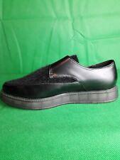 ladies WEDGE Buckle fastening SHOES -colour BLACK/ BLACK FAUX FUR- SIZE 4 UK