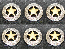 "Set of 6 WESTERN SADDLE HEADSTALL ANTIQUE GOLD STAR CONCHOS 1-1/8"" screw back"