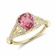 Pink Tourmaline Ring in 14k Yellow Gold