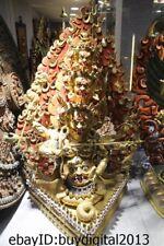 "22"" Tibet Buddhism Temple Bronze 24K Gold 10 Head 8 Arm archery Buddha Statue"