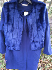 $130 IMAN Platinum Luxe City Coat with Couture Faux Fur Vest Blue Size: Lg