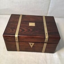 Elegant Antique Jewellery / Sewing Box With Brass Embellishments