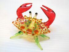 HAND BLOWN GLASS Orange Crab FIGURINE Handcrafted MINIATURE Collection