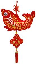 """8"""" Lucky Fish Chinese Charm Hanging Ornament - Feng Shui Home Decoration Accent"""