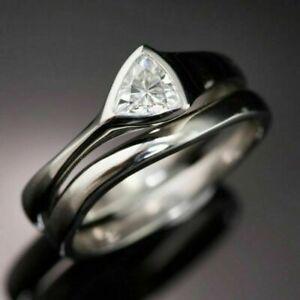 Women Fashion Jewelry White Sapphire 925 Silver Rings Gifts Wedding Band Sz 6-10