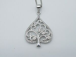 Genuine Sterling Silver 925 Ace of Spades Tree Pendant & Chain Necklace CZ Stone