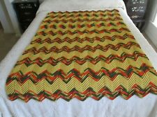 """FALL COLORS Vintage ZIGZAG Hand Crocheted Afghan - Blanket - Throw - 45 X 68"""""""
