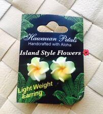 Hawaiian Plumeria Flower FOAM Fashion Jewelry Post Earring Green Yellow 0.5 Inch