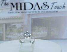 18 carat  white diamonds princess cut cluster ring ,