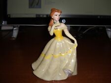 Disney Beauty And The Beast Belle Porcelain Figurine Yellow Dress W/Rose No Box