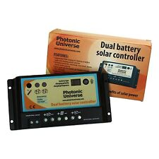 Dual battery 10A solar panel charge controller/regulator 12/24V for camper /boat