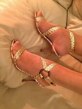 ***WOW*** ROBERTO CAVALLI Sexy Gold Strappy Sandals Leather Soles Size 3