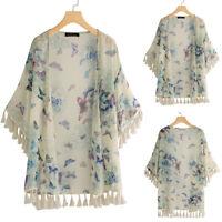 ZANZEA Women Floral Print Tassels Kimono Cardigan Jacket Coat Sun Smock Suit