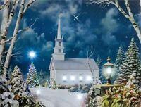 "LED Wandbild Leuchtbild ""Kirche mit Sternenhimmel"" Beleuchtung 40x30cm WF-01 NEU"