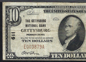 PA 1929 $10   ♚♚GETTYSBURG, PENNSYLVANIA♚♚   PMG VF 25
