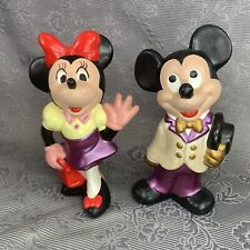 """Mickey & Minnie Mouse Hand Painted Ceramic Walt Disney Productions 9"""" Figurines"""