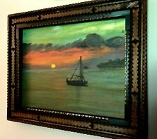 20th Century Tramp Artist George Borum Frame, Boat/Sunset Oil on Board Painting
