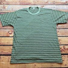 70s 80s VTG STRIPED 50/50 Ringer Made USA T Shirt Surf Skate Green White Soft
