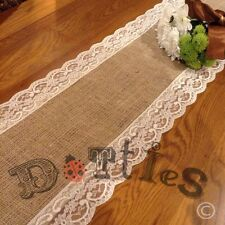 8ft Beautiful Bespoke Hessian and Lace Table Runner