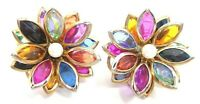 VINTAGE 1960s BRIGHT 3D FLOWER CLIP EARRINGS ACRYLIC BEADS & GOLD TONE METAL