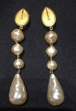 Karl Largerfeld of Chanel 1980's Large  Clip On Goldstone & Faux Pearl Earrings