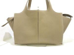 Auth CELINE Tri-Fold Medium Beige Leather Shoulder Bag