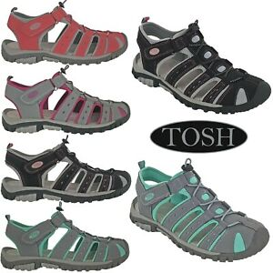 TOSH Sports Womens Sandals Closed Toe Padded Twin Strap Toggle Fasten Cushioned
