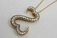 "Open Hearts 14K Yellow Gold & Diamond Pendant Jane Seymour 18-20"" Necklace 585"