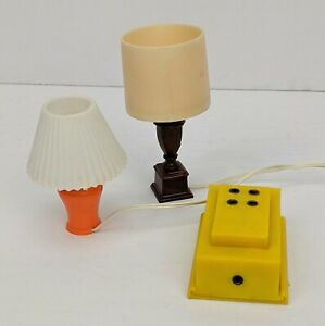Vtg Dollhouse Miniature Table Lamps Electric 1 Working w/Battery Pack