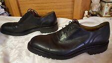 Vntg Alan McAfee Men's Black Leather Cap Toe Oxford Shoes COMMANDO England Sz 11