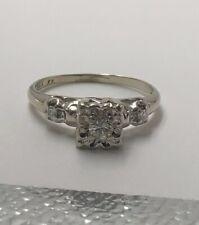 Vintage 14K White Gold Diamond Engagement Ring Size 6