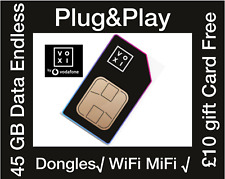 Voxi by Vodafone 4G Sim card, 45GB data, £10 Free Gift Card, MiFi WiFi Dongles