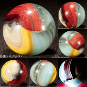 "*DINGED BIG Akro Agate OXBLOOD SHOOTER Vintage Marble 1""- vg hawkeyespicks bt"