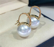 Gorgeous AAA+ 11-12mm real natural white south sea round pearl earrings 18k gold