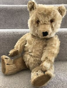"""Antique Chiltern Hugmee Blonde Mohair Jointed Teddy Bear British 17"""""""