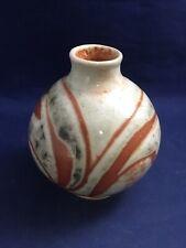 Don Goddard Ceramics Handmade Flower Vase Orange Red and Gray 4.5