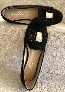 Lunar Flat Shoes Uk3 Eu36 Women's Black Faux Leather Ballet Pumps Loafers