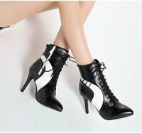 Women's Fashion Lace Up Pointed Toe Ankle Boots Stitching High Heels Shoes Size
