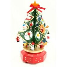 Traditional Wooden Carousel Christmas Tree Music Box * Silent Night * Xmas Gift