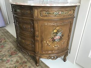 Vintage French Country Painted Floral Cabinet Dresser