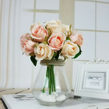 12Head Artificial Silk Rose Flowers Floral Bridal Wedding Bouquet Home Decor