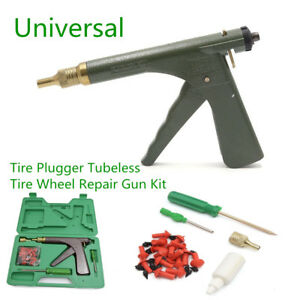 Portable Car Tire Plugger Tubeless Tire Wheel Repair Gun w/Plugs Rubber Plugging