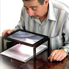 Full Page Reading Hands Free Magnifier 3X  Magnifying Glass Lens With LED Light