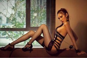 Sexy Black PVC Leather S&M Bondage Lingerie with Stocking