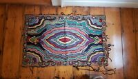 """Antique Early Folk Art Hand Hooked Rug Abstract Design Wall Hanging 45x27"""""""