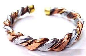 Flat Thick Twisted Copper Bracelet Cuff Wristlet Kada Band Wristband Men Women