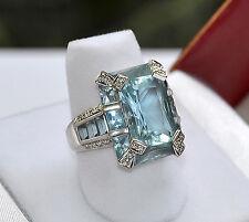 Spectacular Illusion BLUE TOPAZ  Diamond 18k 750 white Gold RING  size 6.5