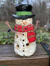 "Yankee Candle Tealight SNOWMAN LANTERN See Thru Burner PRECIOUS HOLDER Winter 6"""