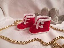 Neues Angebot💖 Babyschuhe ♥  Baby-Booties ♥ gehäkelt  ♥  rot/weiß  ca.11 cm  NEU